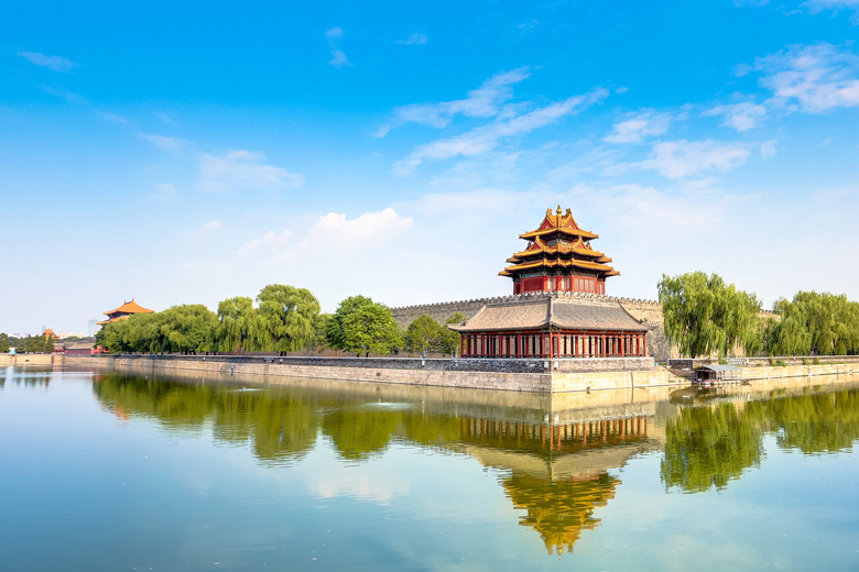 View of the Tongzi moat surrounding the Forbidden City , Beijing, China