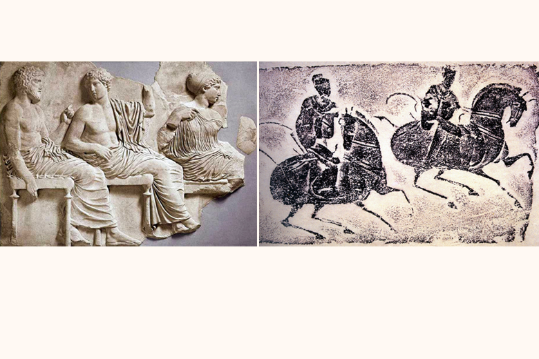 Left: Roman in his toga (Ancient Rome); Right: A pair of horsemen (Eastern Han)