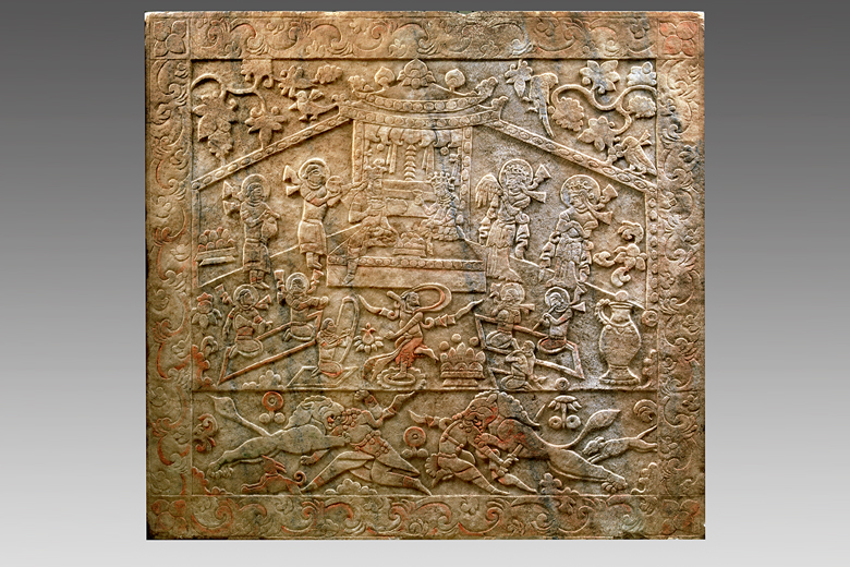 Pic. 1: Carved Tomb Panel from the sarcophagus of Yu Hong's tomb. The twelfth year of the Kaihuang period of Sui Dynasty (592) Unearthed in 1999 from the tomb of Yu Hong at Wangguo village in Taiyuan, Shanxi Province Shanxi Museum