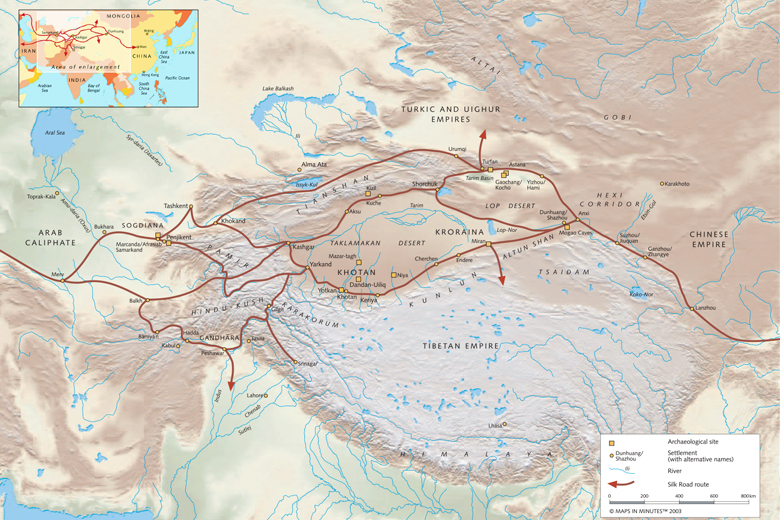 The Silk Roads in Central Asia, Showing Ancient Kingdoms and Empires